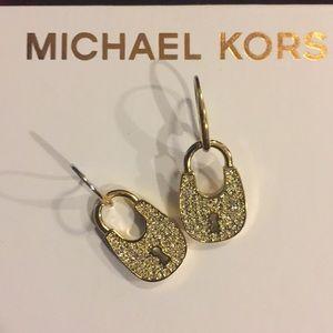 MICHAEL KORS CRYSTAL PAVE PADLOCK DROP EARRINGS